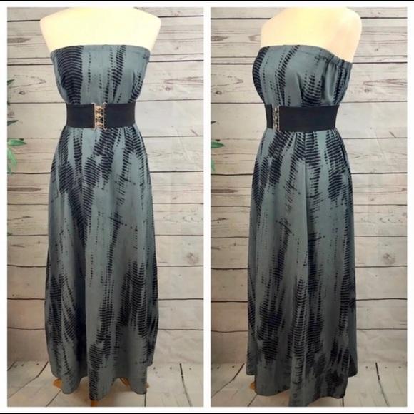 Anthropologie Dresses & Skirts - Elan Tie Dye Boho Maxi Dress Slate Grey Black